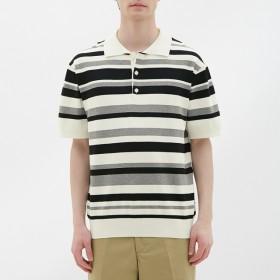 (GU)マルチボーダーニットポロシャツ(半袖) OFF WHITE S