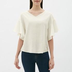 (GU)リネンブレンドフレアスリーブブラウス(半袖) WHITE XL