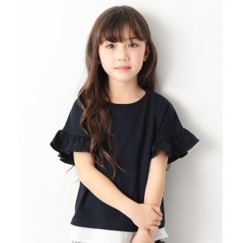 デビロック フリルスリーブTシャツ 女の子 レディース ネイビー 110 【devirock】