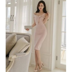 ワンピース ドレス リボン ノースリーブ ひざ丈 上品 タイト きれいめ セクシー お呼ばれ パーティー 二次会 韓国 オルチャン
