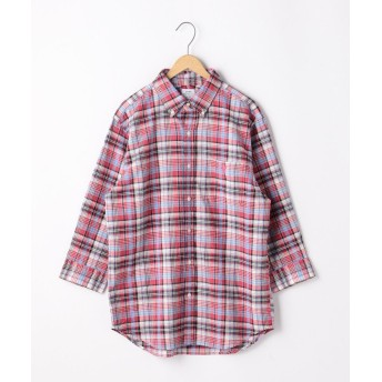 【50%OFF】 コーエン 綿麻7分袖チェックシャツ メンズ RED MEDIUM 【coen】 【セール開催中】