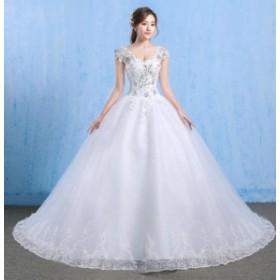 トレーン ウェディングドレス 優雅 袖なし パーティドレス ロングドレス フェミニン 披露宴 結婚式 二次会 韓国風 着痩せ 編み上げ