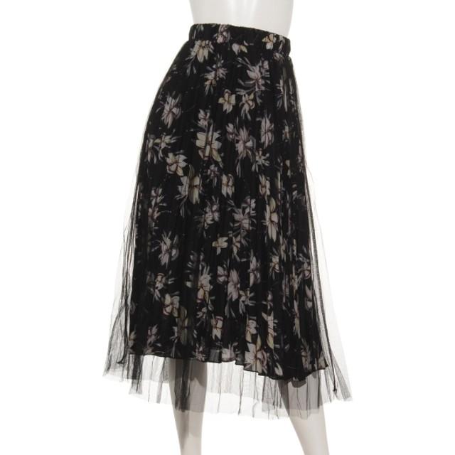 70%OFF aurea (アウレア) 花柄×チュールロングスカート ブラック
