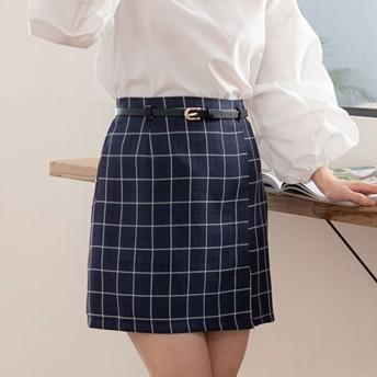 ユメテンボウ 夢展望 ベルト付き台形スカート (チェック柄ネイビー)