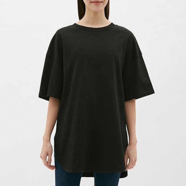 (GU)ヘビーウェイトオーバーサイズT(5分袖) BLACK XL