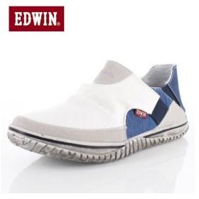 EDWIN エドウィン EDW-7535 WHITE メンズ スニーカー スリッポン カジュアル 軽量 カップインソール ホワイト