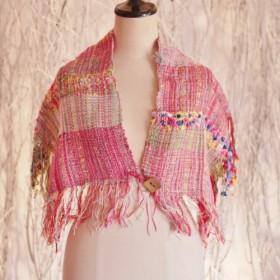 手織り つけ襟ストール 春夏糸