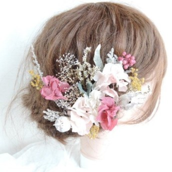 春色ピンクと黄色の大人可愛いウェディングヘッドドレス