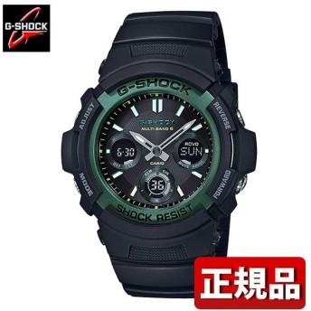 G-SHOCK Gショック CASIO カシオ タフソーラー AWG-M100SF-1A3JR FIRE PACKAGE'19 メンズ 腕時計 国内正規品 黒 ブラック 緑 グリーン ウレタン