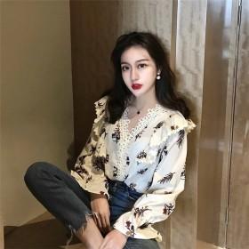 【送料無料】 韓国ファッション 2019新品 大人気 新作 sweet系 レース Vネック ブラウス フリル 長袖 スリム 気質 シャツ 女性