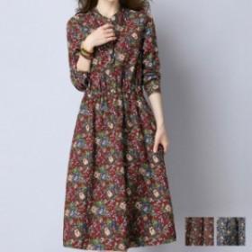 花柄 ワンピース レディース トップス 春秋 カットソー 長袖 韓国ファッション 大きいサイズあり 韓国 プチプラ ⇒ 送料無料