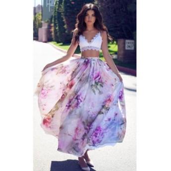 ロングスカート レディース ボトムス フレアスカート ロング丈 花柄 おしゃれ ファッション お出かけ