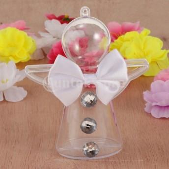 クリアなプラスチックの天使の形のボックスfillable装飾キャンディボックス
