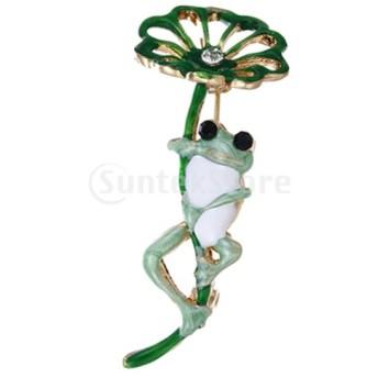 ファンシーエナメルラインストーンカエルの蓮の葉のブローチピンの女性パーティージュエリー