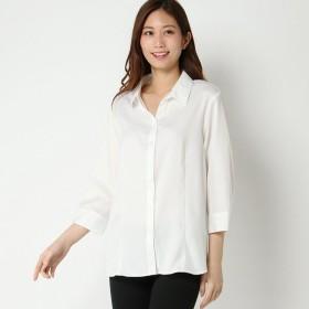 【大きいサイズノアンヌ】パウダースキッパー衿7分袖ブラウス(レディース) オフホワイト