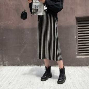 ストライプ タイトスカート ペンシル ボトム レディース ロング 膝丈 大きいサイズ ハイウエスト 春 秋 冬
