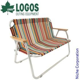 ロゴス neos チェアfor2-ST (オレンジストライプ)  73173082 キャンプ用品