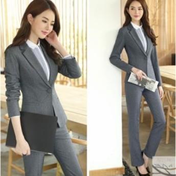 3点上下セットスーツ おしゃれ♪パンツスーツ ブラウス付き 女性 事務服 ビジネス オフィス リクルート フォーマル 通勤 テーラードジャ