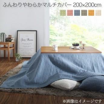 洗える ふんわりやわらかカバーシリーズ 〔melt〕 メルト マルチカバー こたつ布団カバー 200×200cm グリーン
