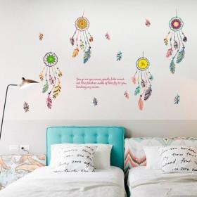 ウォールステッカー 壁紙シール 壁装飾 インテリア ドリームキャッチャー 羽根 窓 ウィンドウシール 取り外し 寝室 居間 DIY 模様替え