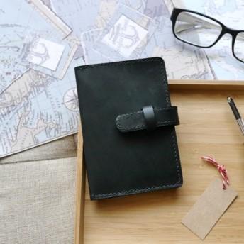 イタリアの牛革パスポートセットモナークブラック無料カスタムレタリング