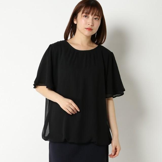 【大きいサイズノアンヌ】半袖裾バルーンプルオーバー(レディース) ブラック
