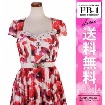 IRMA ドレス イルマ キャバドレス ナイトドレス ワンピース 赤柄 7号 S 9号 M 165639 クラブ スナック キャバクラ パーティードレス