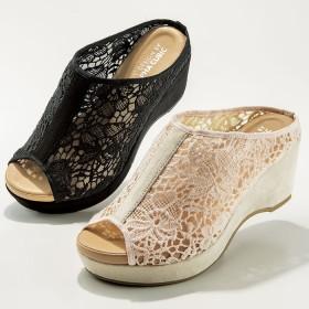 ベルーナ 幅広 ラッセルレースウェッジサンダル 黒 M(23.0~23.5cm) レディースサンダル ミュール ヒール 春 夏 靴 レディース 通販 大きいサイズ コーデ 安い おしゃれ お洒落 30代 40代 50代 女性 シンデレラサイズ