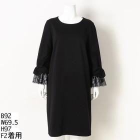 [マルイ] 【大きいサイズ】袖口リボンワンピースドレス/ラクープ(LACOUPE)