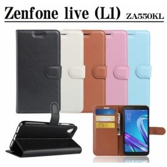 ASUS Zenfone Live (L1) ZA550KL 手帳型ケース スマホカバー カードケース付き スタンド機能 フリップ式