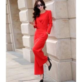 パンツドレス セットアップ オールインワン レディース 大きいサイズ ロング 袖あり パーティー 2点セット