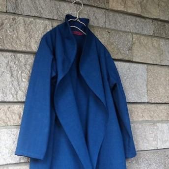 藍染 綿麻リネンブルー シンプルコーディガン 上着