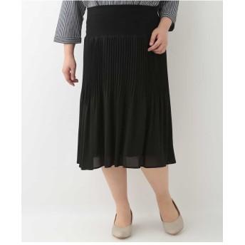 eur3 【大きいサイズ】シフォンプリーツスカート その他 スカート,ブラック