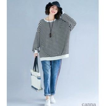 カジュアルな素材感の綿100%ドロップショルダーボーダーTシャツ 秋 着痩せ 長袖