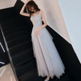 ホルターネックドレス エレガント 上品 スパンコール パーティドレス ウエディング ロングドレス 撮影 結婚式 チュール