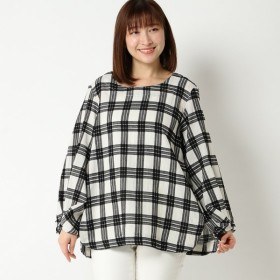 【大きいサイズノアンヌ】綿単色チェック9分袖ブラウス(レディース) ブラック