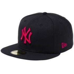 【新品】 【再入荷】 ニューエラ 5950キャップ ピンクロゴ ニューヨークヤンキース ブラック ストロベリー