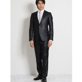 【TAKA-Q:スーツ・ネクタイ】ストレッチ光沢組織柄無地 黒 2ピーススーツ スリムフィット