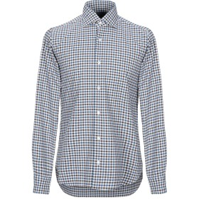 《期間限定セール開催中!》DANDYLIFE by BARBA メンズ シャツ ブルー 42 コットン 100%