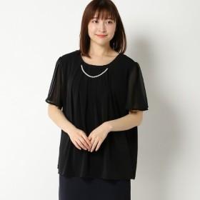 【大きいサイズノアンヌ】半袖ネックレス付プルオーバー(レディース) ブラック