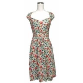 美品 cacharel  キャシャレル ボタニカルフラワーワンピース (花柄 ドレス 半袖 小紋) 118844 【中古】