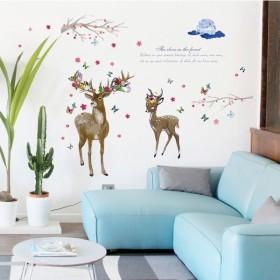ウォールステッカー 壁紙シール シールタイプ はがせる 壁シール 鹿 シカ 花 フラワー 飾り付け ルームデコレーション ウォールデコレーション 貼り
