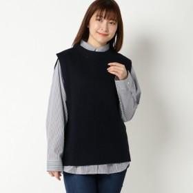 SALE 【大きいサイズノアンヌ】ノースリベストシャツアンサンブル(レディース) ネイビー
