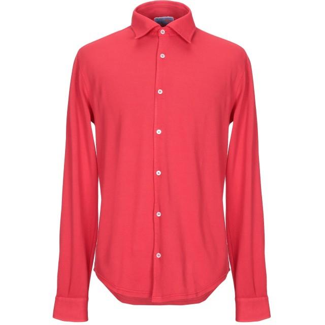 《セール開催中》FEDELI メンズ シャツ レッド 50 コットン 100%