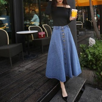 KOBE LETTUCE 神戸レタス ロング丈 デニムフレアスカート 裾フリンジ ポケットあり