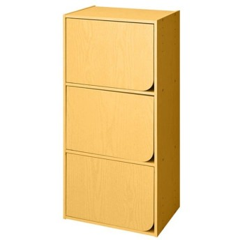カラーボックス Nカラボ 3段扉付き(ライトブラウン) ニトリ 『玄関先迄納品』 『1年保証』