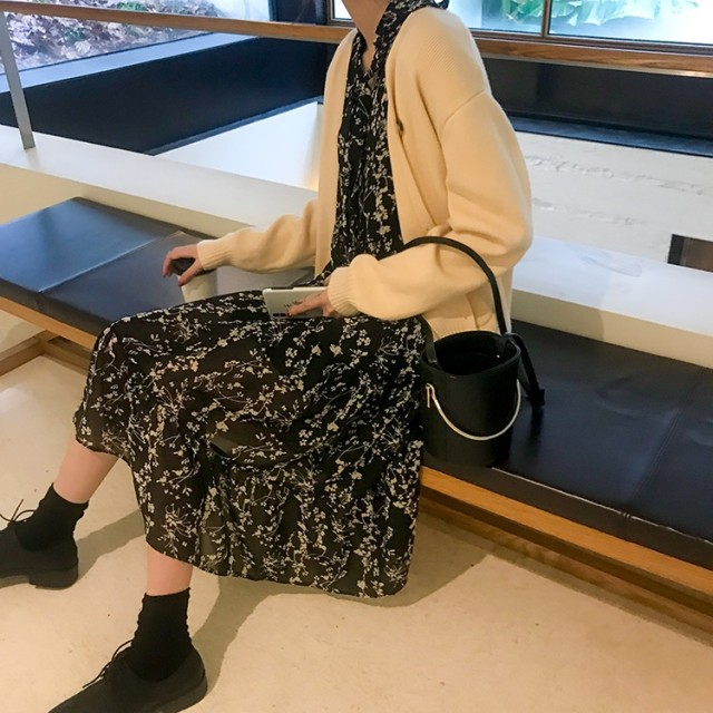 花柄 シフォン ワンピース 膝下丈 リボン 裾フリル デート 韓国 オルチャン
