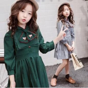 子ども服 2018 秋着 ジュニア ストライプ柄 子供服 女の子 復古風 長袖 ワンピース 可愛い ワンピース ファッション感