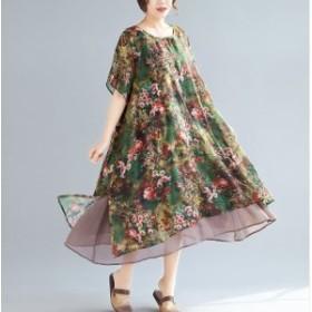 【[タイムセール開催中】】 水彩花柄デザイン 裾シフォン見せ フレアワンピース ゆったり 大きいサイズ レディース対応  LL 3L 4L【予約