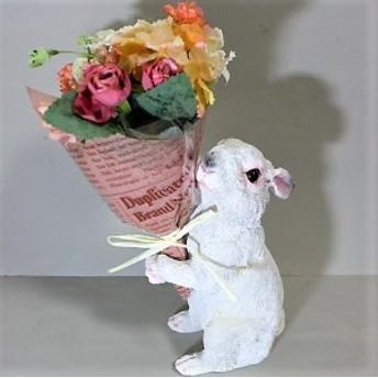 うさぎの置物 ウサギ プレゼントラビットWH 8412-01 花束 母の日 ギフト CT触媒加工 防汚 抗菌 消臭 兎 ガーデン